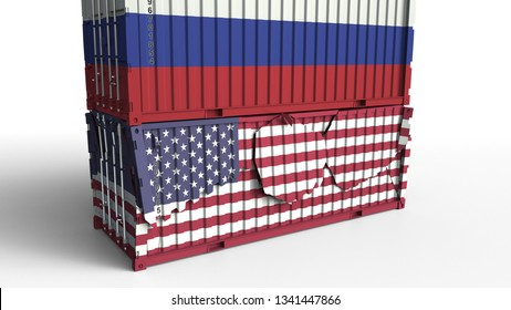 Container with flag of Russia breaks cargo container with flag of the United States. Trade war or economic conflict related conceptual 3D rendering