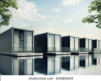 Container House on lake resort, daylight 3D render