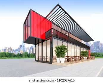 The Container Restaurant & Bar , 3d rendering