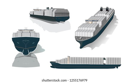 Container Ship EEE class - largest cargo vessel in the world - isolated illustration