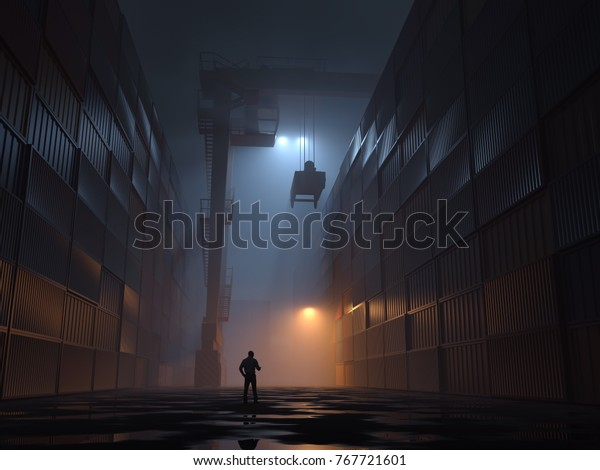 Container Terminal  at night, 3d illustration