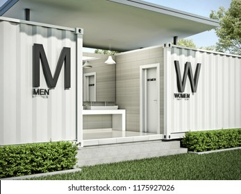 Container toilet exterior #2, 3D render