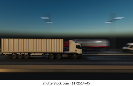 Container Truck Moving on the Highway at Night 3d rendering