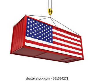 Container with United States Flag and Crane Hook. 3D rendering
