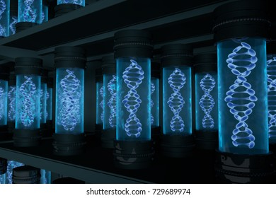 Containers with Double helix DNA molecule stored on shelves. DNA Library Archive concept. 3D Illustration.