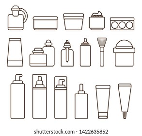 Containers full of skincare means with vitamins and minerals black white isolated cartoon flat outlines raster illustrations on background.