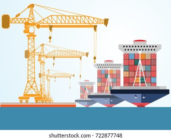 containers ship, high-altitude crane with a container, sea port
