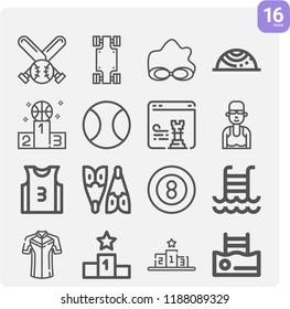 Contains such icons as balance, podium, snooker, tennis, strategy, skateboard, baseball, jersey, flipper, swimming pool and more.  1000x1000 pixel perfect.