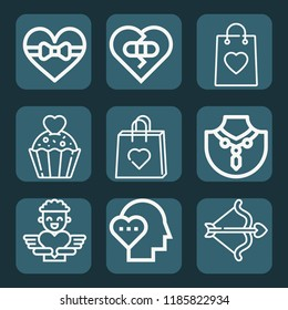 Contains such icons as heart, bag, cupcake, broken heart, love, bow, cupid and more. editable stroke. 1000x1000 pixel perfect.