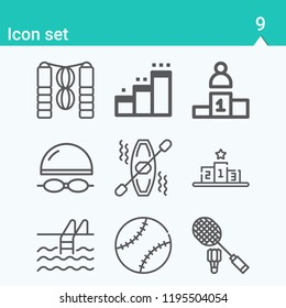 Contains such icons as skipping rope, podium, badminton, kayak, pool, swimmer and more.  1000x1000 pixel perfect.