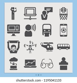 Contains such icons as speaking, speech, dating, revenue, laptop, monitor, bus, helicopter, eye glasses, monorail, fan, basketball and more.  1000x1000 pixel perfect.