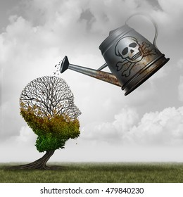 Contaminated water concept and environmental problem symbol as a toxic watering can pouring poison on an injured tree that is shaped as a human head with 3D illustration elements.