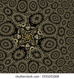 Contemporary abstract pattern design for background, scarf pattern texture for print on cloth, cover photo, website, mandala decoration, retro, vintage, trend, 3d illustration, baroque, wallpaper