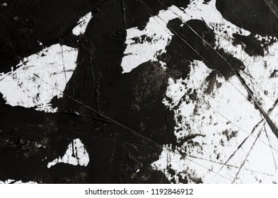 Contemporary art . Black paint on white paper. Hand made abstract painting . Grunge Ink artwork. Urban abstract artwork. Interior design picture. Abstract black and white stroke painting