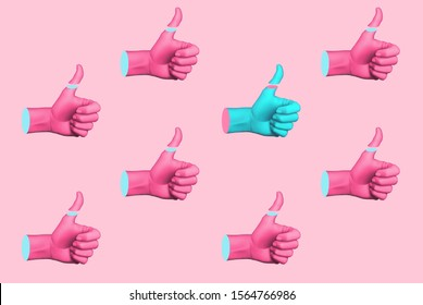 Contemporary art collage with hands showing thumbs up. Memphis style poster concept. Minimal art, 3d illustration.