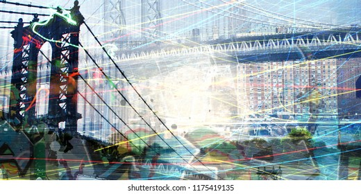 Contemporary art composition. New York downtown and Brooklyn bridge. 3D rendering