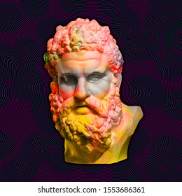 Contemporary art concept collage with antique statue head in a zine culture style. Man face with beard.