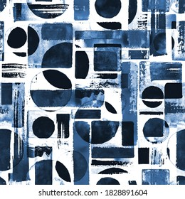 Contemporary art seamless pattern background. Abstract grunge geometric shapes. Watercolor hand drawn indigo circles, rectangles, squares texture. Watercolour print for textile, wallpaper, wrapping.