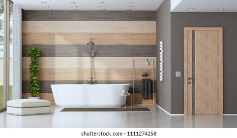 Contemporary bathroom with bathtub against wooden wall - 3d rendering