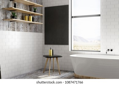 Contemporary bathroom interior with window view, equipment and empty poster. Design and ad concept. Mock up, 3D Rendering