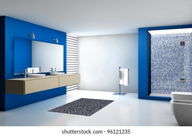 Contemporary bathroom with modern design and furniture, colored in blue, maple and white, 3d rendering.