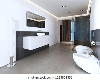 Contemporary bathroom with shower and bath in white and gray colors. 3D rendering