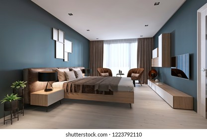 Contemporary bedroom with dark blue walls and light furniture and two brown chairs. 3D rendering
