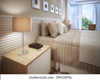 Contemporary bedroom design. Done bed with cushions, wooden bedside table with phone and table lamp with brown shade. Wall decorated with white stripes, like bedside table. 3D render