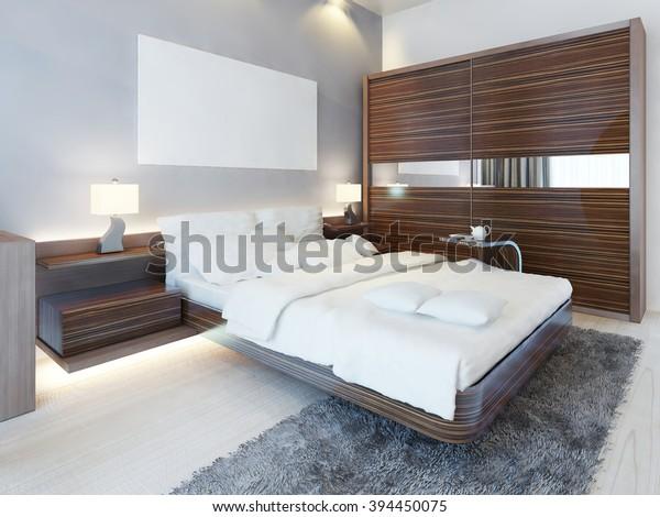 Contemporary Bedroom White Colors Furniture Zebrano Stock ...