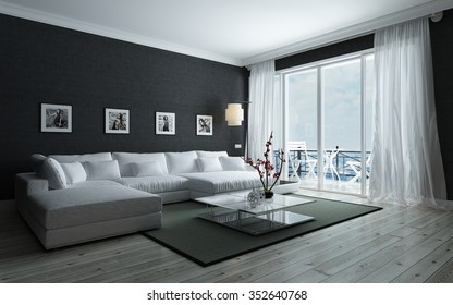 Contemporary black and white living room with stylish interior decor, an upholstered lounge siite and glass door leading to an outdoor patio. 3d Rendering.