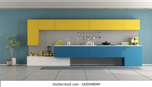 Contemporary blue and yellow kitchen - 3d rendering