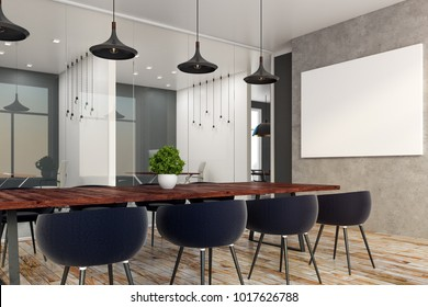 Contemporary boardroom interior with copy space on wall. 3D Rendering