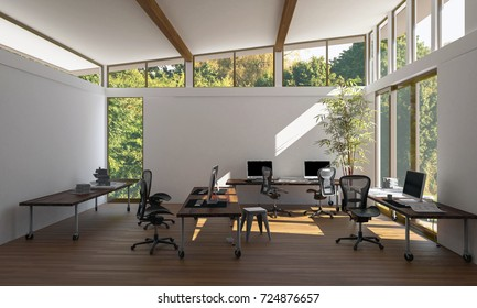 A contemporary, bright empty eco style office workspace with chairs, desks, computers and wide windows. 3d Rendering