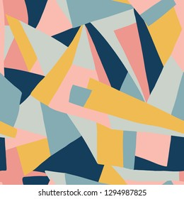 Contemporary collage pattern vector. Geometric colorful shapes seamless background coral pink gold yellow blue. Modern design for prints, posters, cards, web banner, fabric, digital paper, packaging.