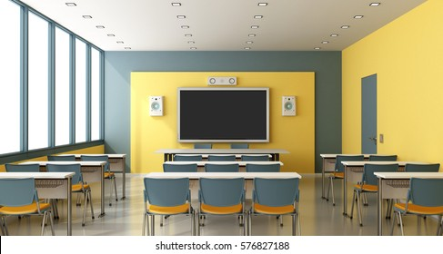 Contemporary colorful classroom with digital blackboard on wall - 3d rendering