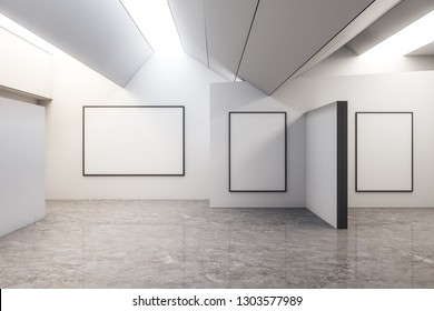 Contemporary concrete exhibition hall interior with copyspace and gray floor. Gallery concept. Mock up, 3D Rendering