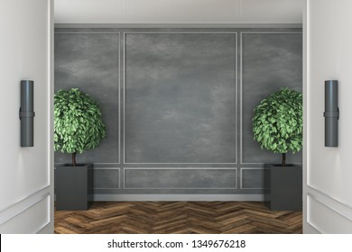 Contemporary concrete interior with decorative trees, wooden floor and copyspace on wall. Mock up, 3D Rendering