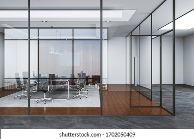 Contemporary conference interior with furniture and panoramic city view. Leadership and success conceptþ 3D Rendering