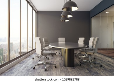 Contemporary conference room interior with city view and daylight. 3D Rendering