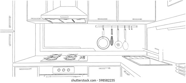 Contemporary corner kitchen sketch with fume hood, cooktop, sink and appliances.