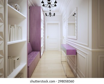 Contemporary corridor design. Entrance hall with cupboards, a soft pink leather sofa, console and large mirror. 3D render