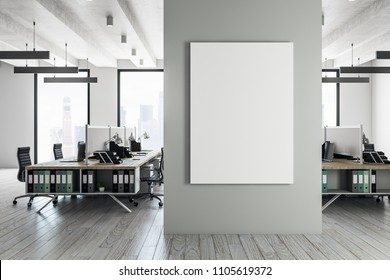 Contemporary coworking interior with furniture, daylight and empty banner. Advertisement concept. Mock up, 3D Rendering