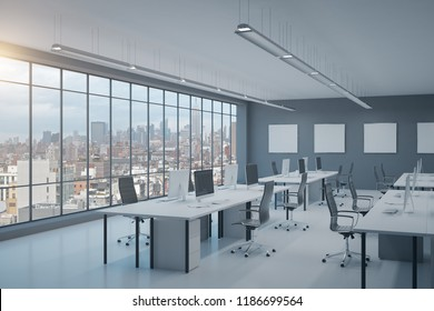 Contemporary coworking office interior with city view, furniture, equipment and empty posters. 3D Rendering