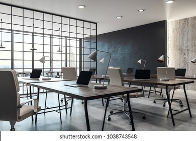 Contemporary coworking office interior with panoramic city view and daylight. 3D Rendering