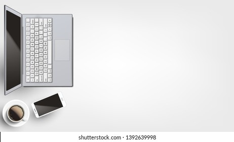 Contemporary Devices On Workplace Flat Lay . Opened Modern Laptop And Neoteric Smartphone Near Hot Coffee Cup Arranged On Homey Or Office Workplace. Copy Space Top View Illustration