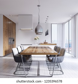 Contemporary dining room with large table and loft style chairs. 3d rendering