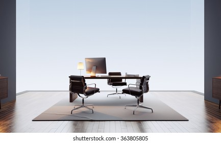 Contemporary and empty office interior. 3d render