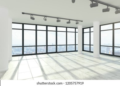 Contemporary empty office interior with columns, city view and shadows. 3D Rendering