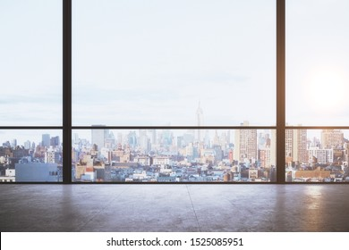 Contemporary empty office interior with panoramic new york city view, daylight and reflections on concrete floor. 3D Rendering