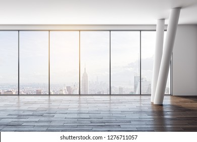 Contemporary empty white office interior with wooden floor and panoramic New York city view. 3D Rendering